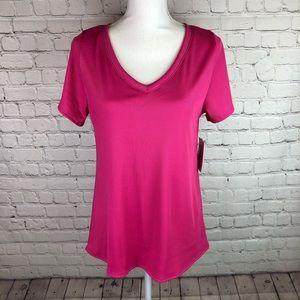 LuLaRoe Christy T v-neck tee shirt hot pink S